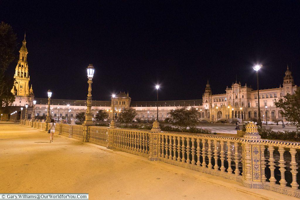 Plaza de España at night, Seville, Andalusia, Spain