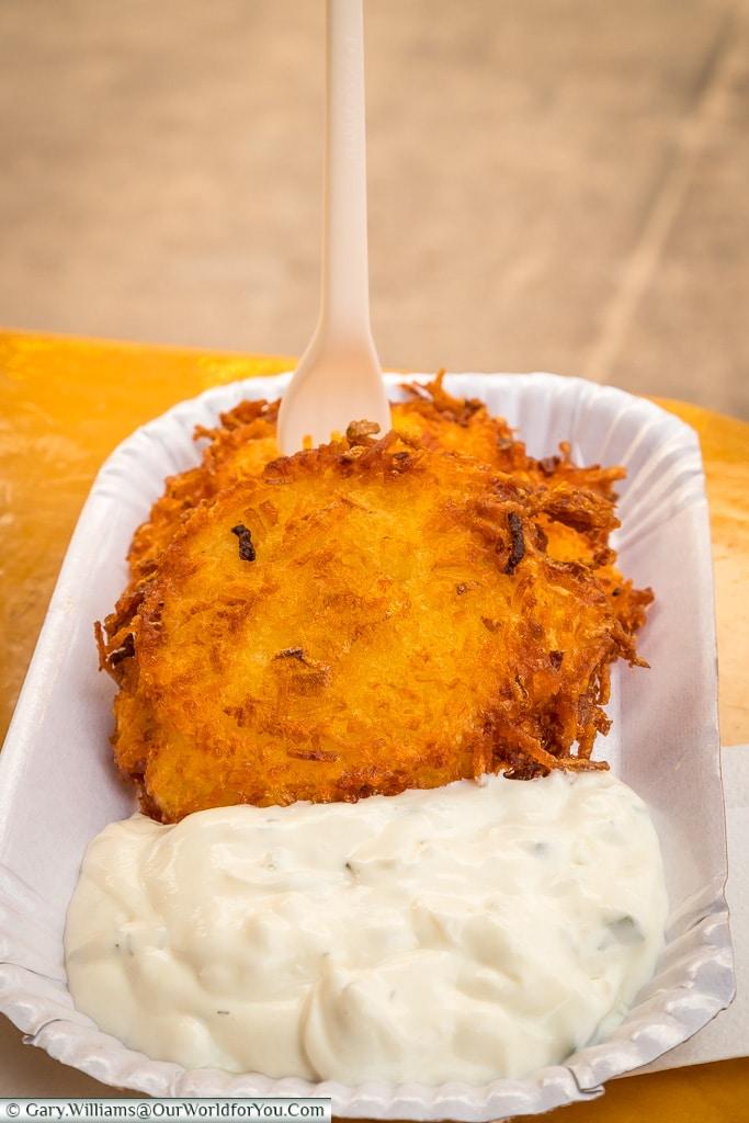 Potato cakes with sour cream, Stuttgart, Germany