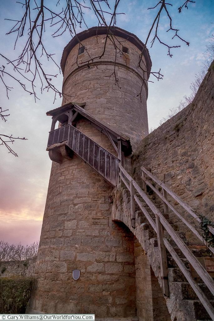 A defensive tower at dusk, Rothenburg ob der Tauber, Germany