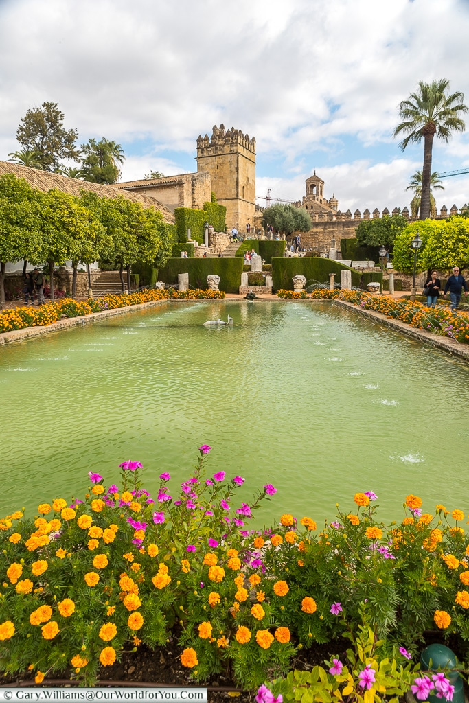 A view across the pool, Alcázar de los Reyes Cristianos, Cordoba, Córdoba, Spain