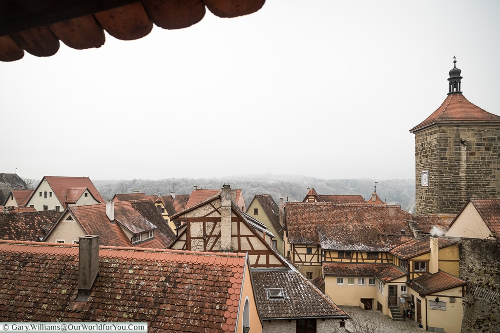 Across the roof tops on a frosty day, Rothenburg ob der Tauber, Germany