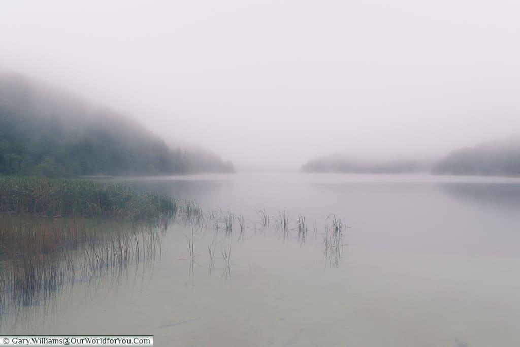 An eerie mist hand over the upper lake, Plitvice Lakes, Croatia
