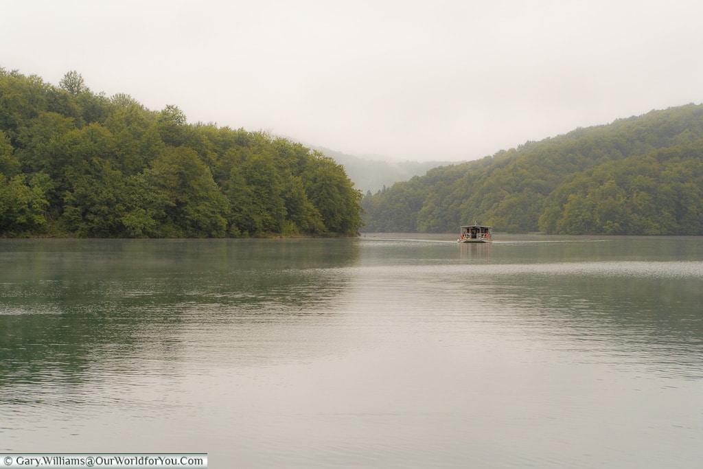 Boating across the lake, Plitvice Lakes, Croatia