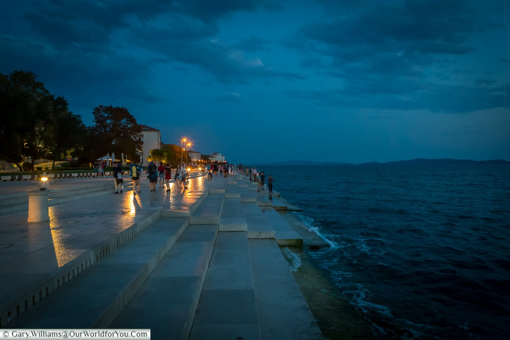 By the sea at dusk, Zadar, Croatia