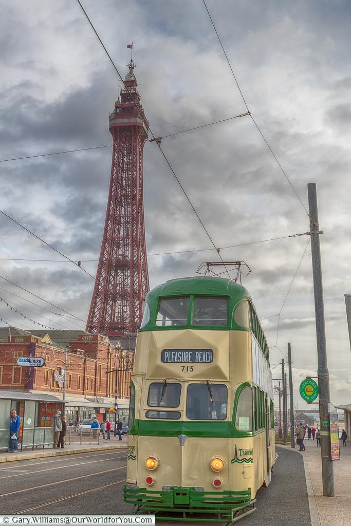 Heritage Tram and Blackpool Tower, Blackpool, Lancashire, England, UK