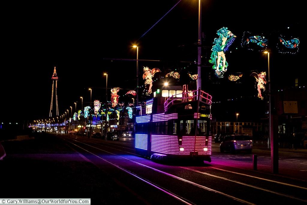 Illuminated tram at night, Blackpool Illuminations, Lancashire, England, UK