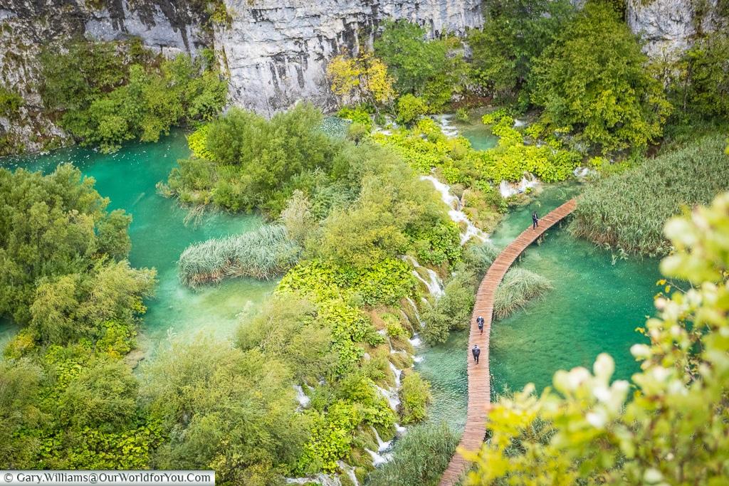 Looking down on the walkway, Plitvice Lakes, Croatia