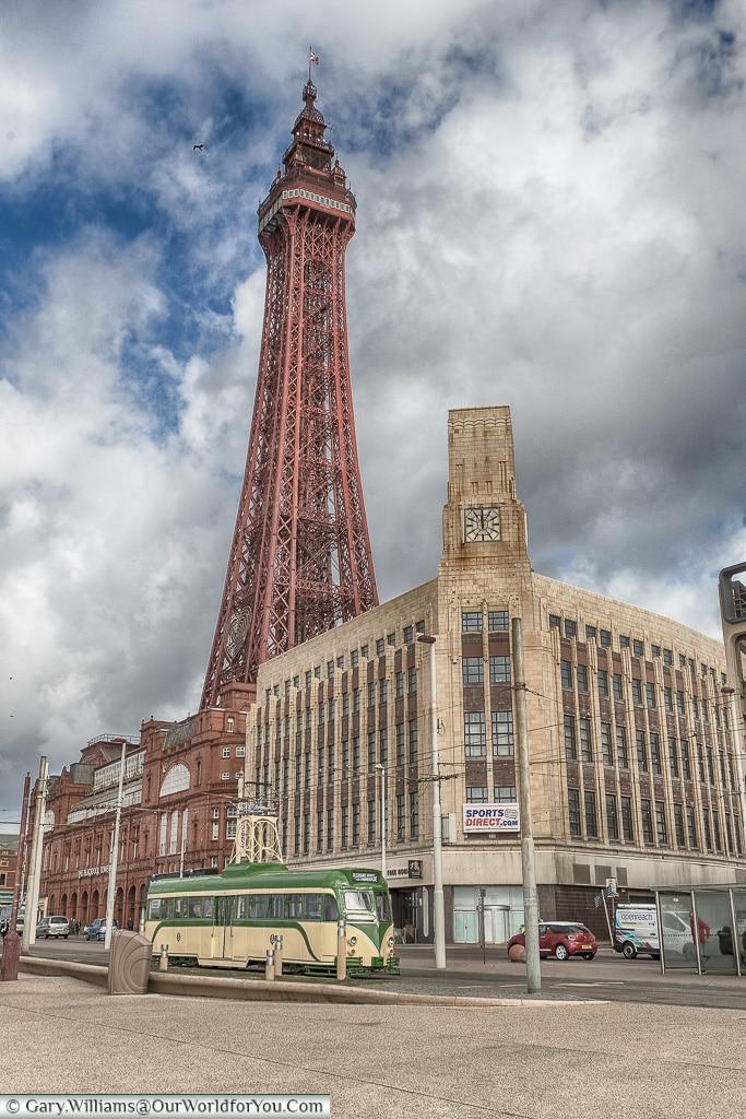 Retro Tower and Tram, Blackpool, Lancashire, England, UK