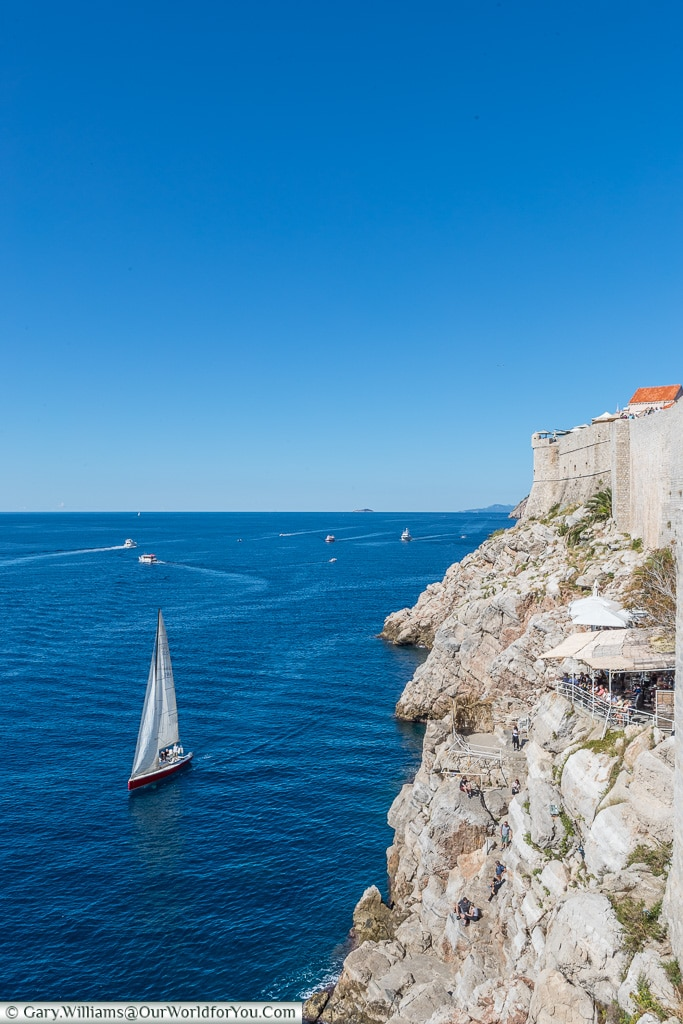 Sailing past the Old Town, Dubrovnik, Croatia