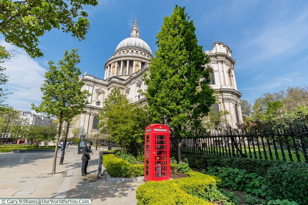 St Paul's and the telephone booth, City of London, London, England, UK
