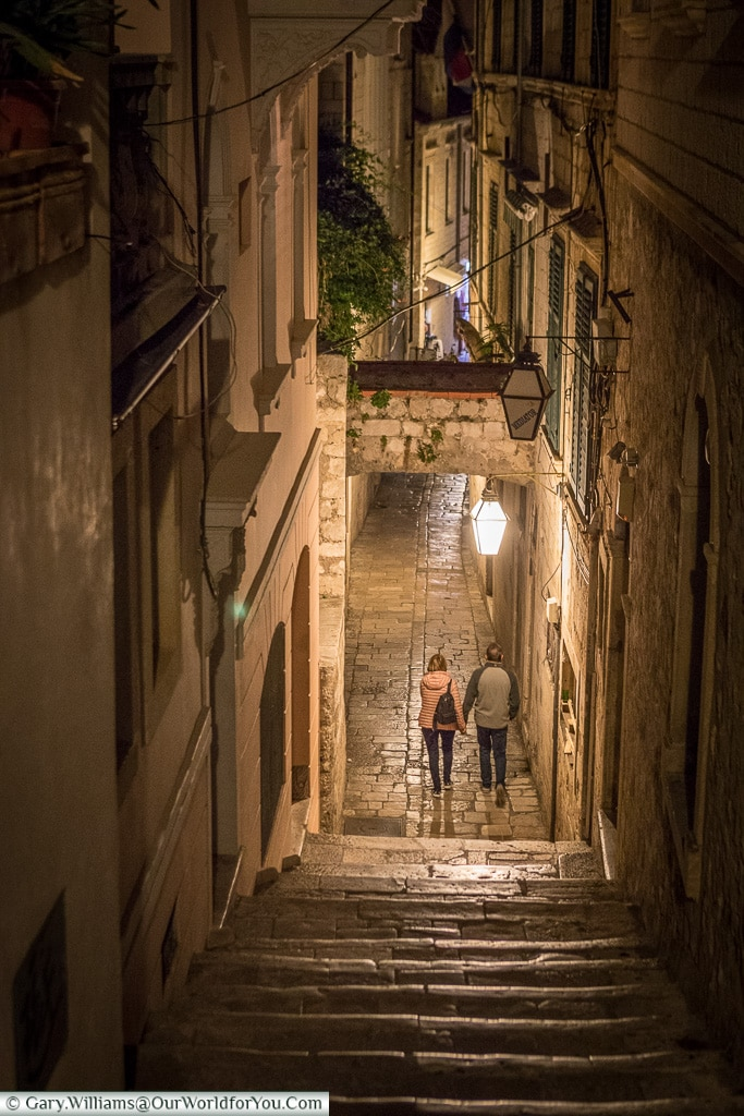 Strolling along the lanes at night, Dubrovnik, Croatia