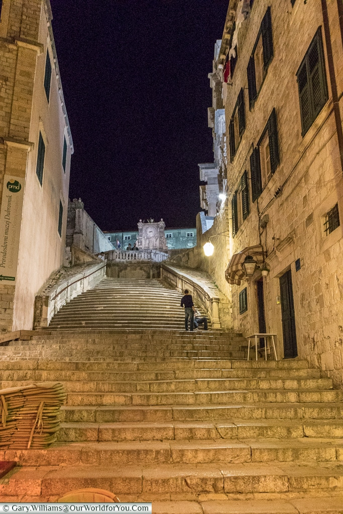 The Jesuit Steps at night, Dubrovnik, Croatia