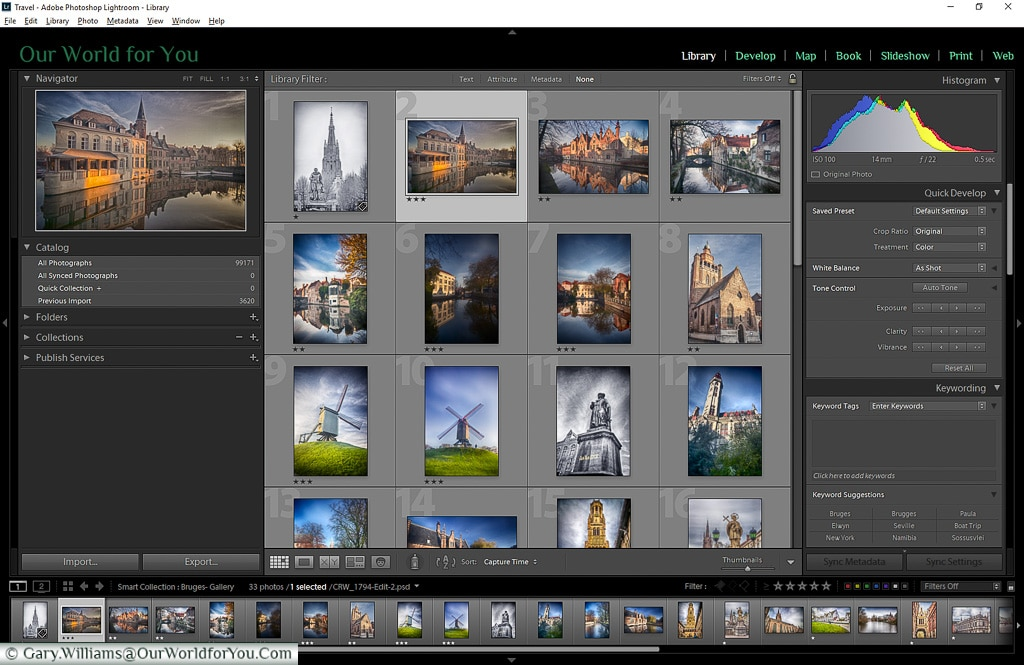 The Library contact sheet view, Adobe Lightroom
