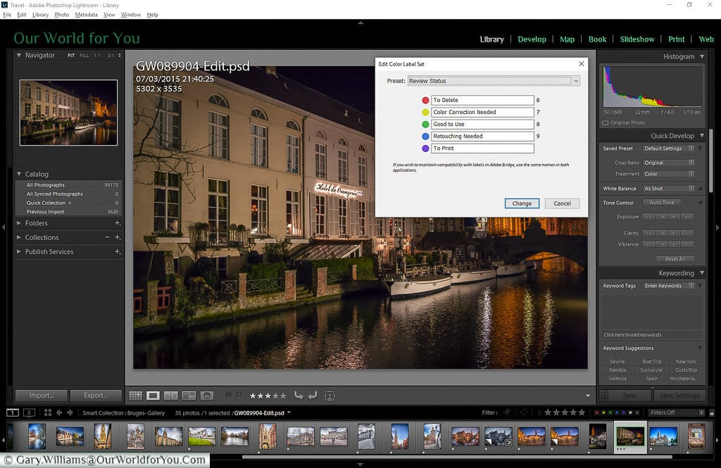 The Library colour selection, Adobe Lightroom