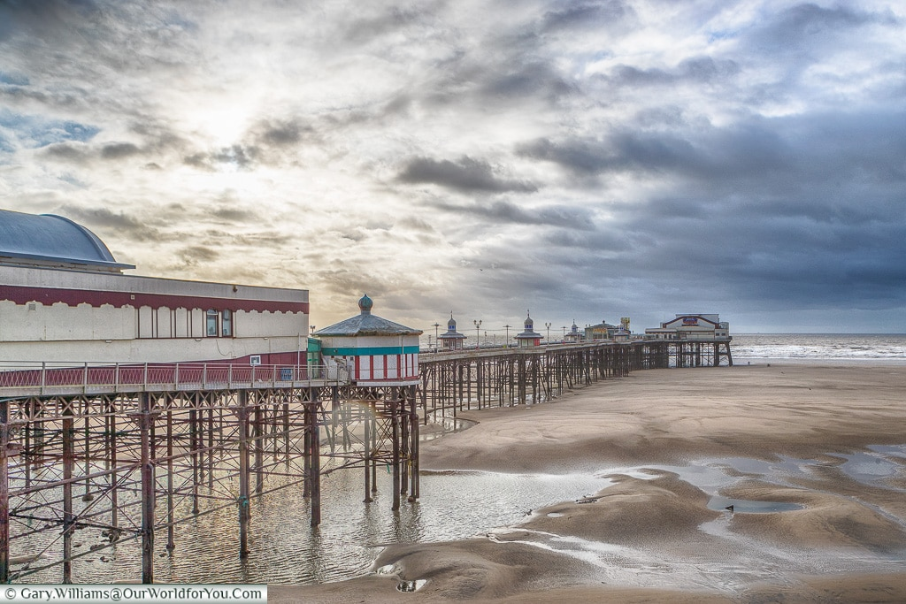 The North Pier at low tide, Blackpool, Lancashire, England, UK