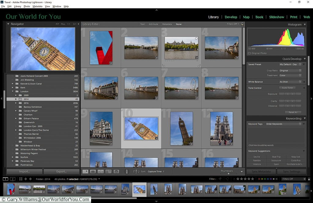 The opening interface into the Library module of Adobe Lightroom
