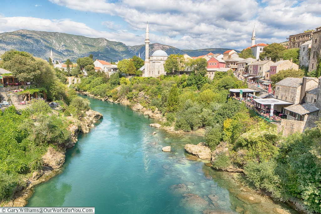 The view north from the Stari Most, Mostar, Bosnia and Herzegovina