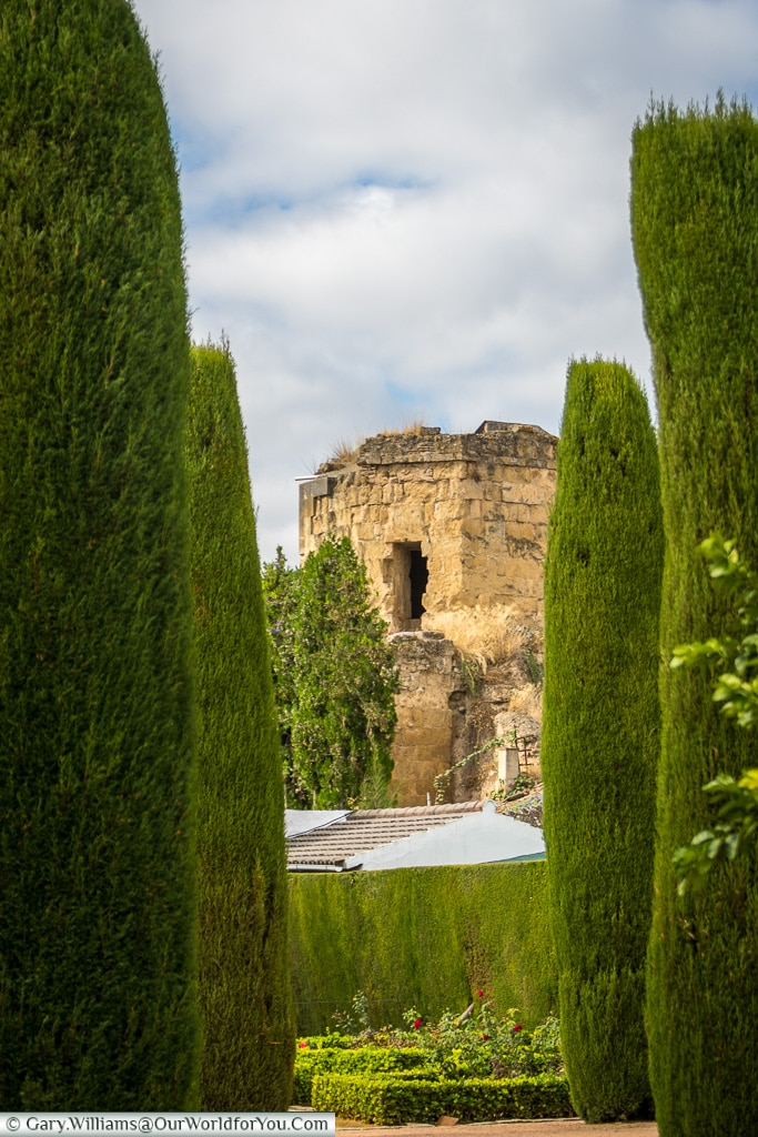 Through the trees, Alcázar de los Reyes Cristianos, Cordoba, Córdoba, Spain