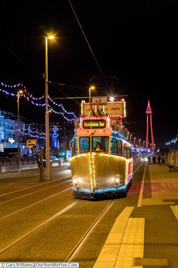Tram and the Tower, Blackpool Illuminations, Lancashire, England, UK