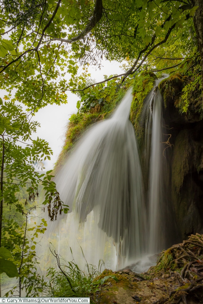 Up close to one of the many falls, Plitvice Lakes, Croatia