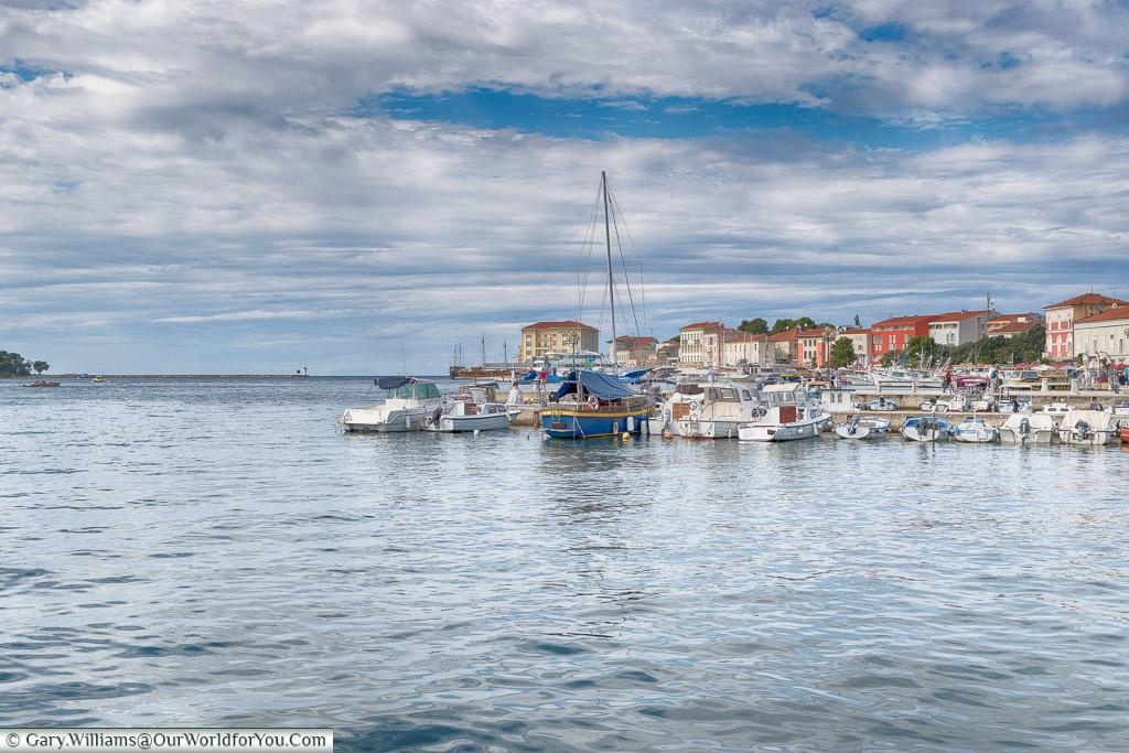 A harbour view of Poreč, Croatia