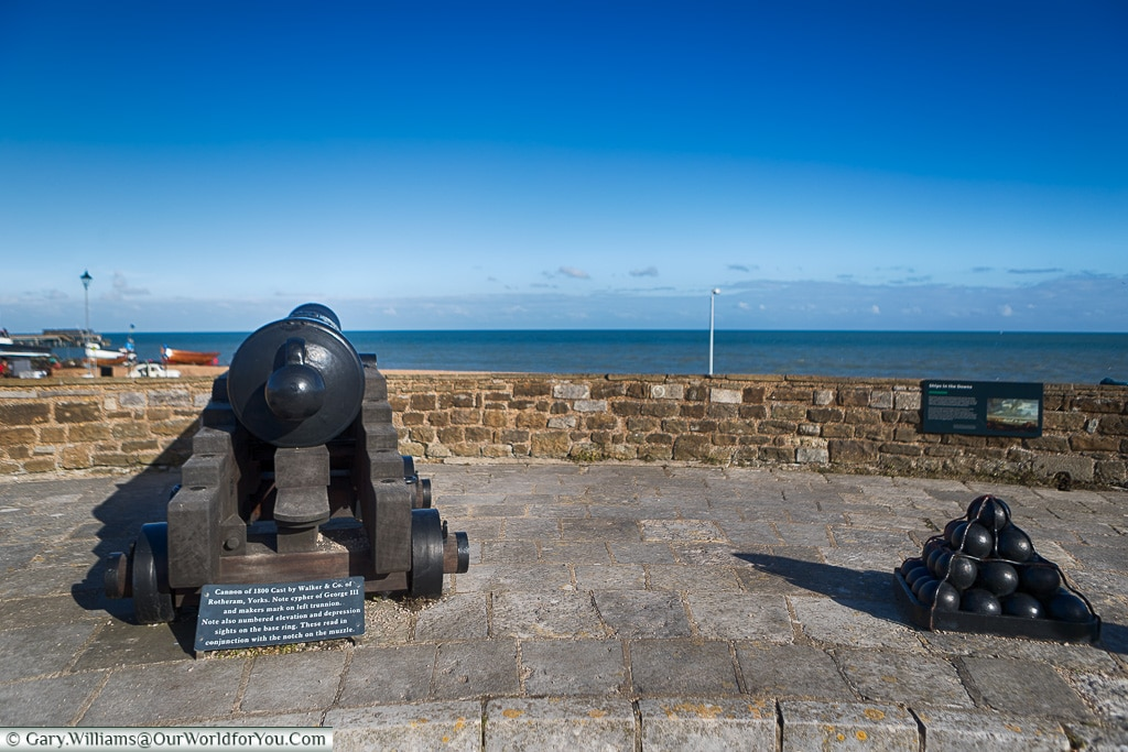 Cannons looking out to Sea, Deal Castle, Deal, Kent, England, UK