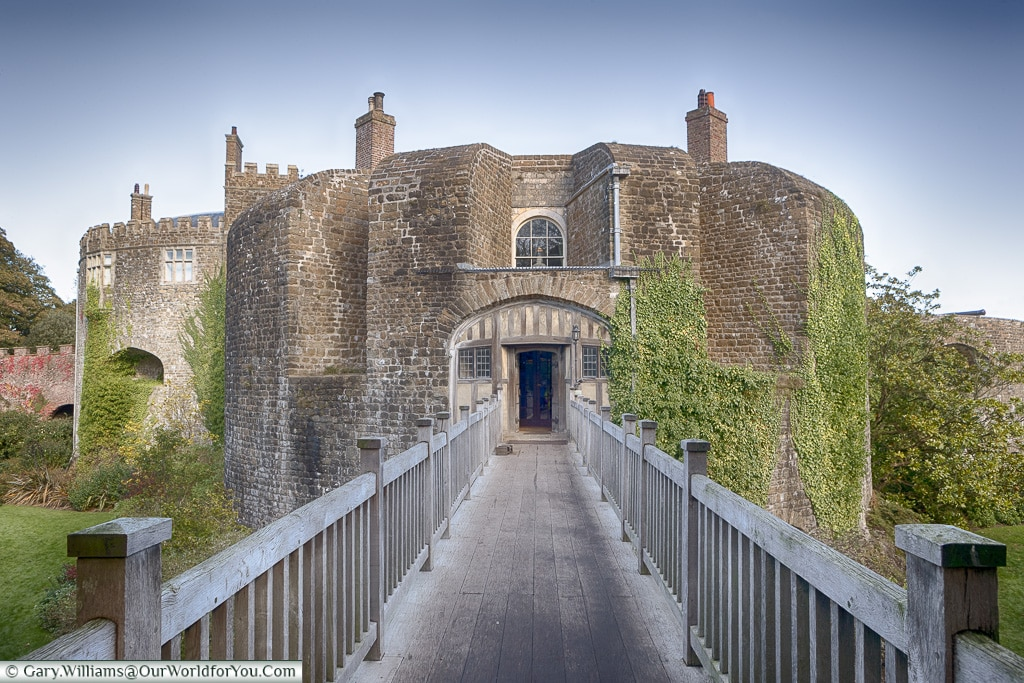Entrance across the moat to Walmer Castle, Walmer, Kent, England, UK