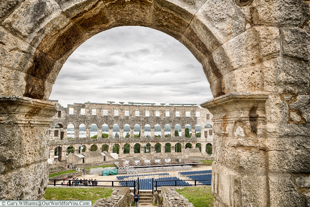 Looking through the Amphitheatre, Pula, Croatia