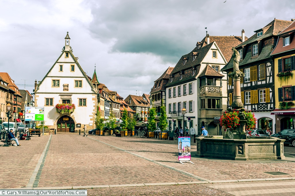 St Odile's Fountain in the Place du Marche, Obernai, Alsace, France