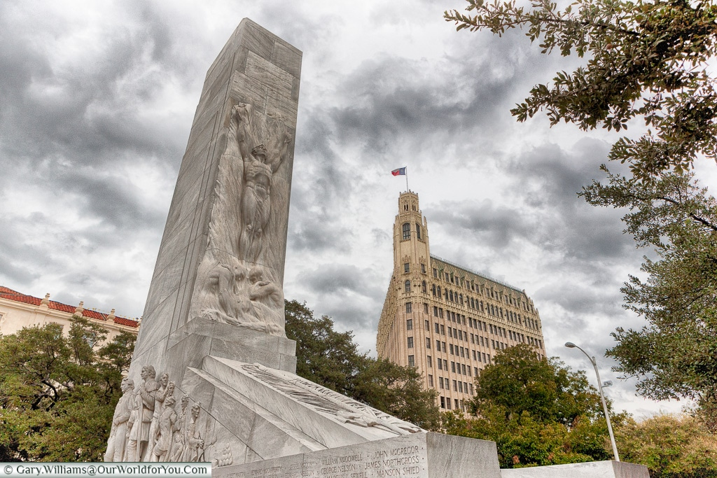 The Alamo Cenotaph Monument, San Antonio, Texas, America, USA
