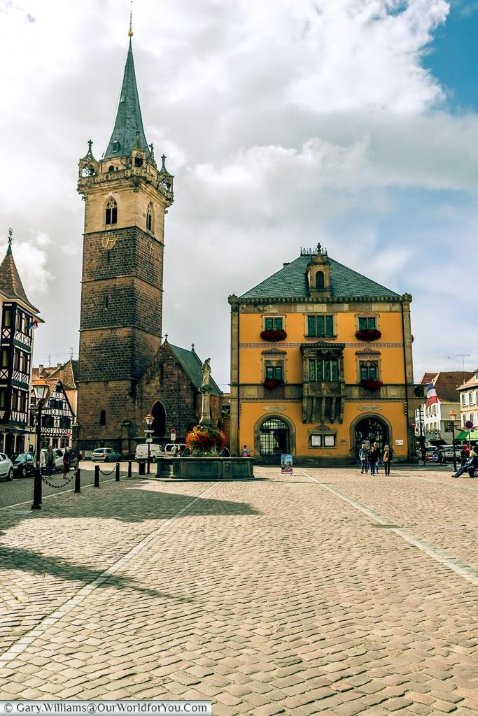 The Belfry and Hotel de Ville, Obernai, Alsace, France