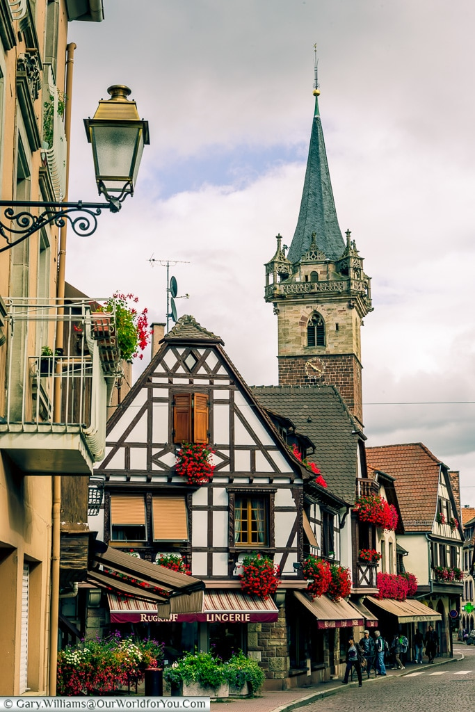 The Belfry in the distance, Obernai, Alsace, France