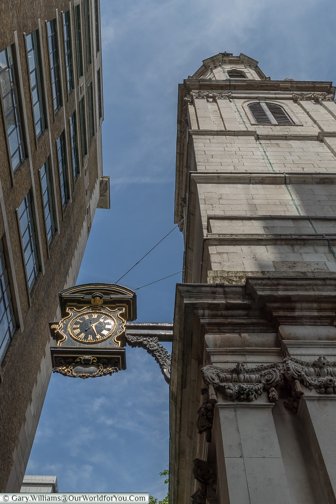 The Clock and Tower of St Magnus The Martyr, City of London, London, England, UK