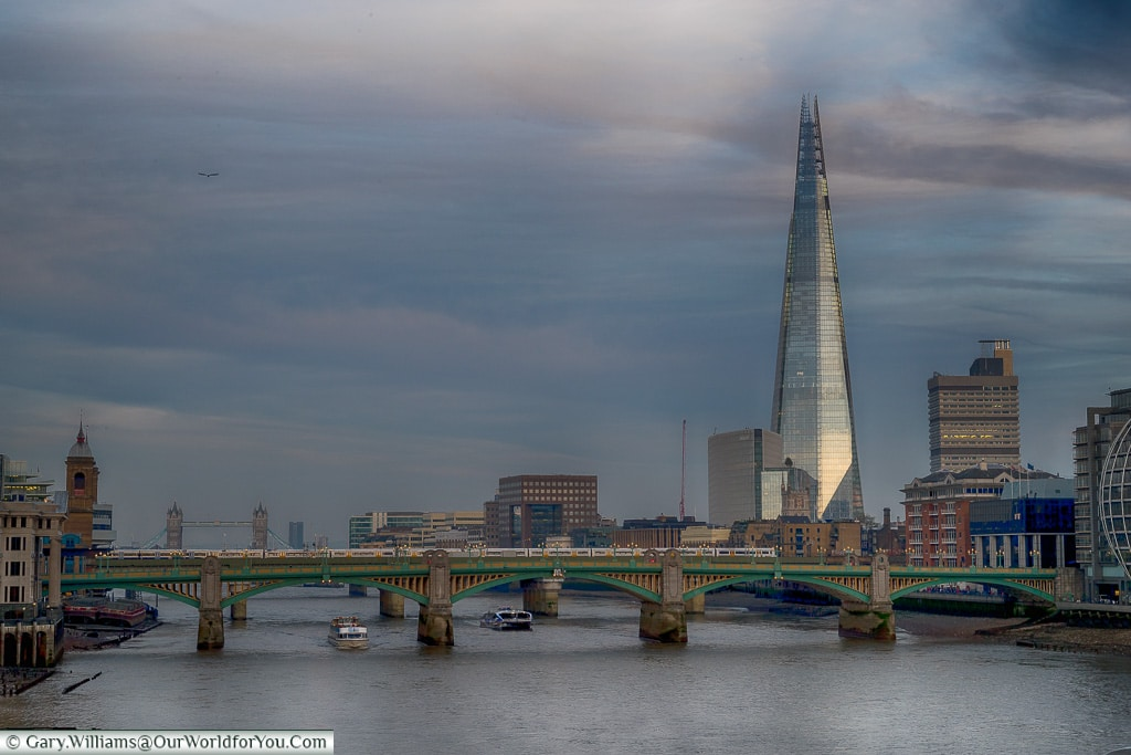 The River at dusk, City of London, London, England, UK