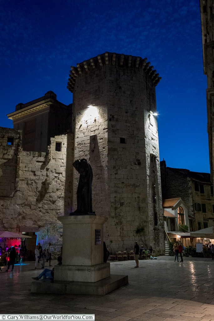 The Venetian Tower after the sun has gone down, Split, Croatia