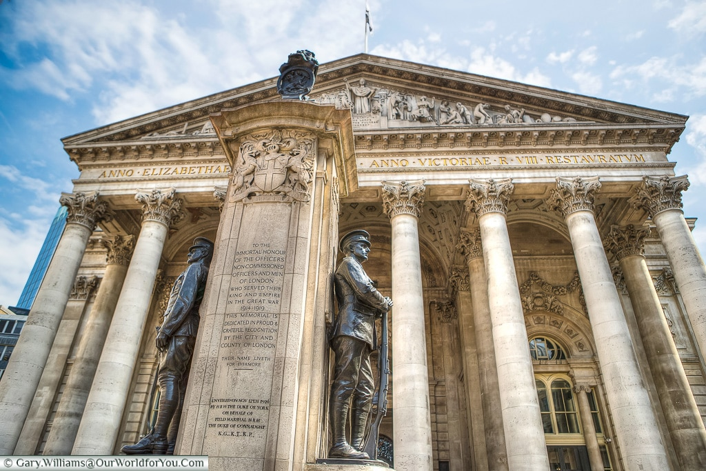 The War Memorial in front of the Royal Exchange, City of London,