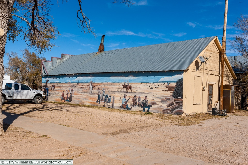 The Wild West mural, Mosquero, New Mexico, America, USA