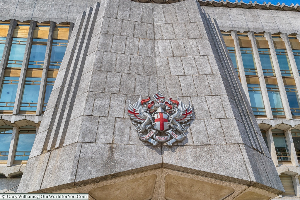 The emblem of the City of London, London, England, UK