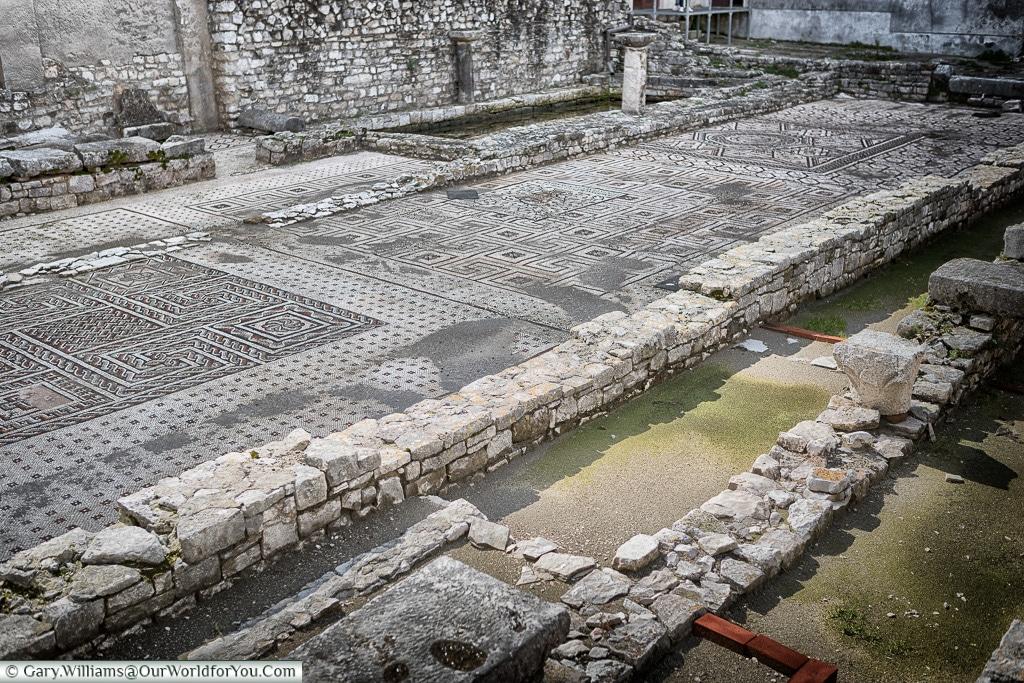 The mosaics in the garden of the Euphrasian Basilica, Poreč, Croatia
