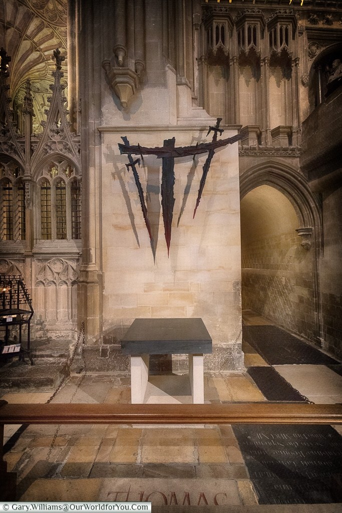 The spot where Thomas Becket was put to death in Canterbury Cathedral, Canterbury, Kent, England, UK