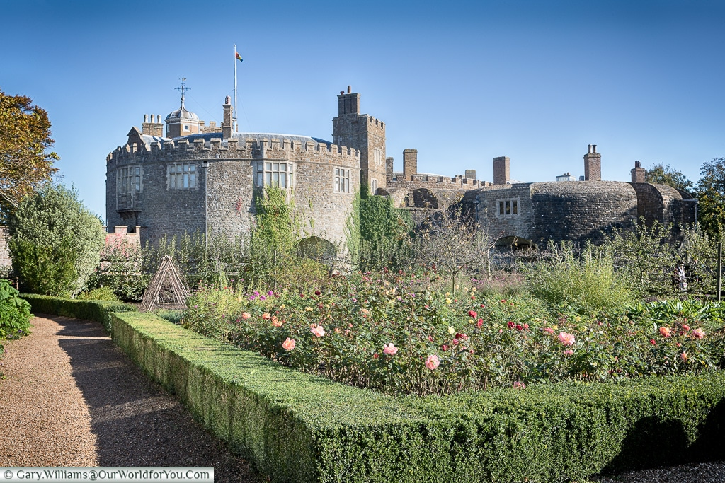 Walmer Castle from the kitchen garden, Walmer, Kent, England, UK