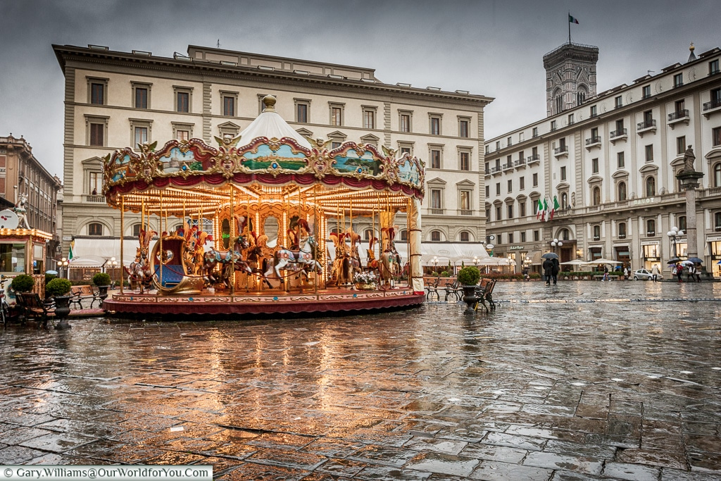 Carousel in the Rain, Florence, Tuscany, Italy