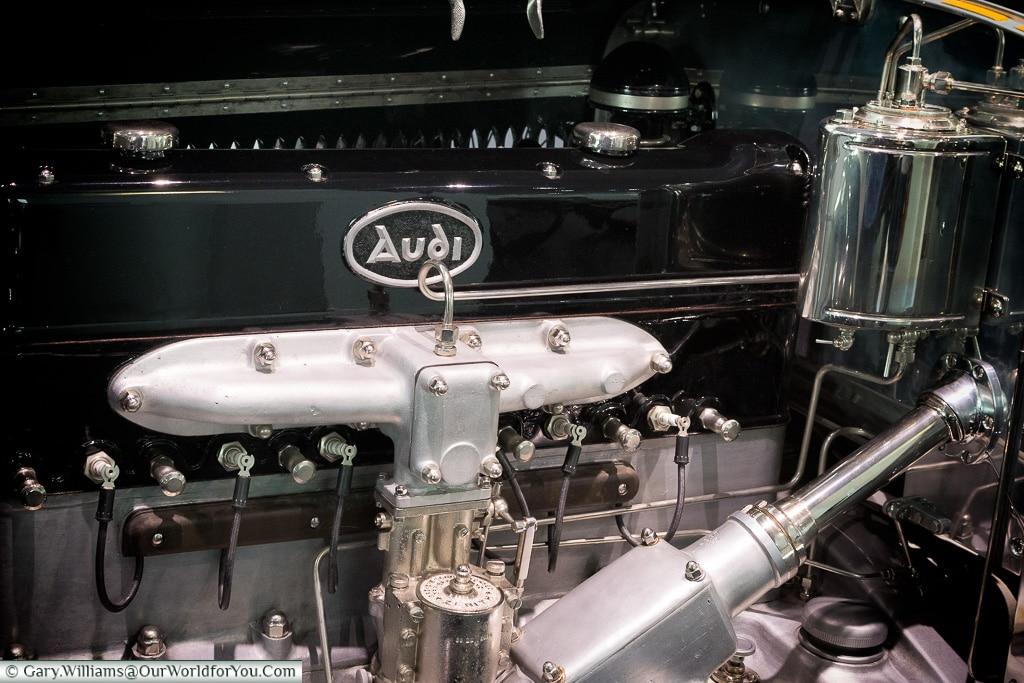 A classic Audi engine, Audi Museum, Ingolstadt, Germany