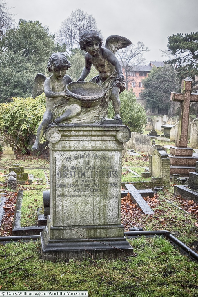 Ornate headstones, Brompton Cemetery, London, England, UK