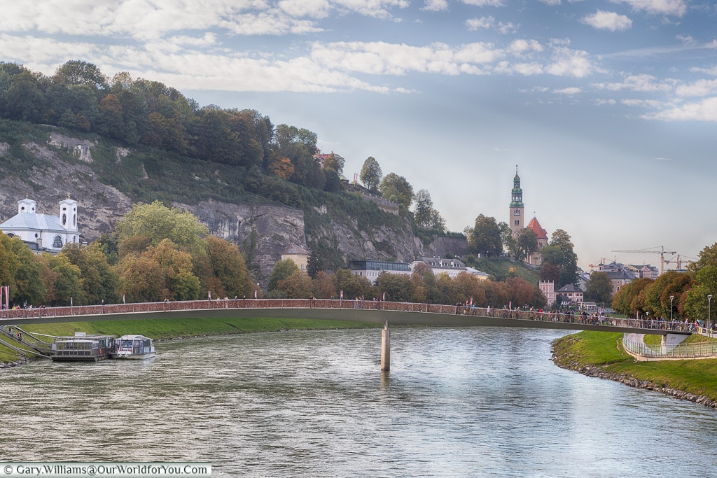 The Salzach river through Salzburg, Austria