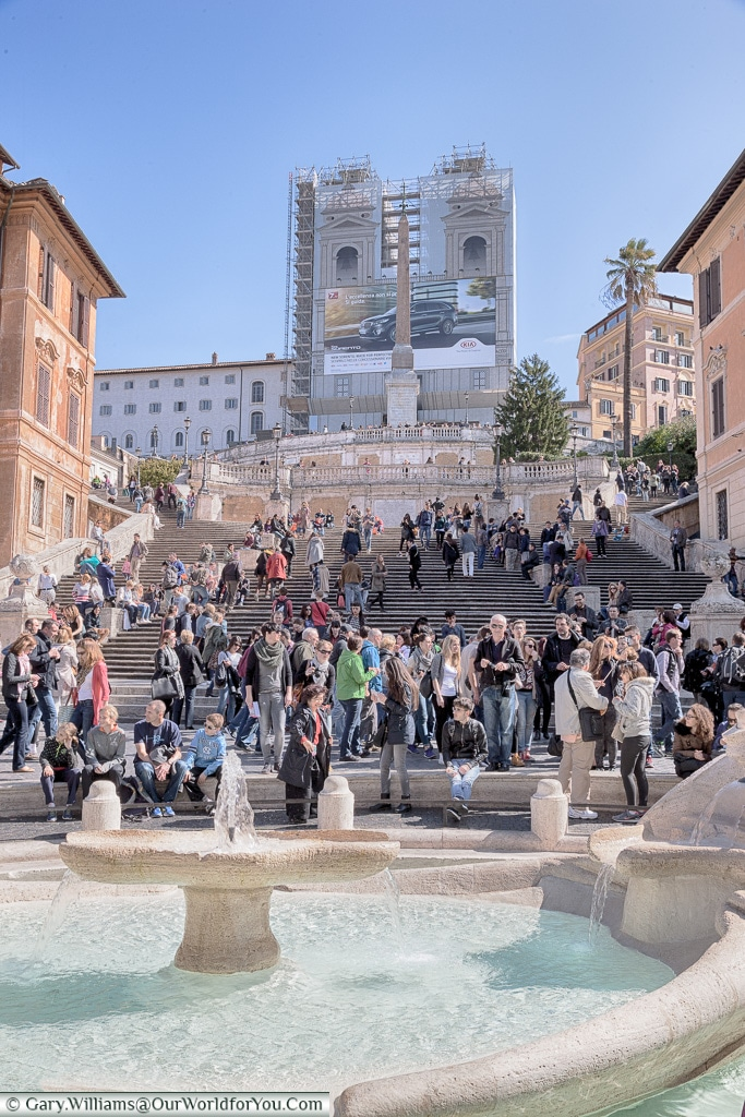 The crowded Spanish Steps, Rome, Italy