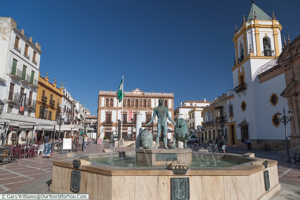 The fountain and Plaza del Socorro, Ronda, Spain