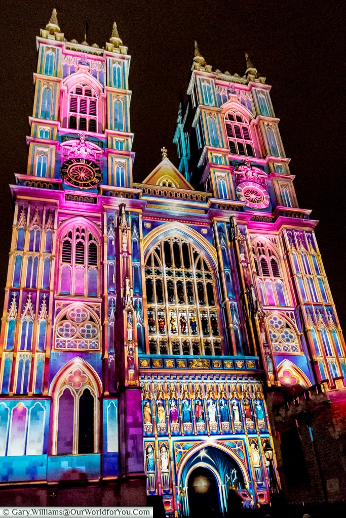 Westminster Abbey, Lumiere London, London, England, UK