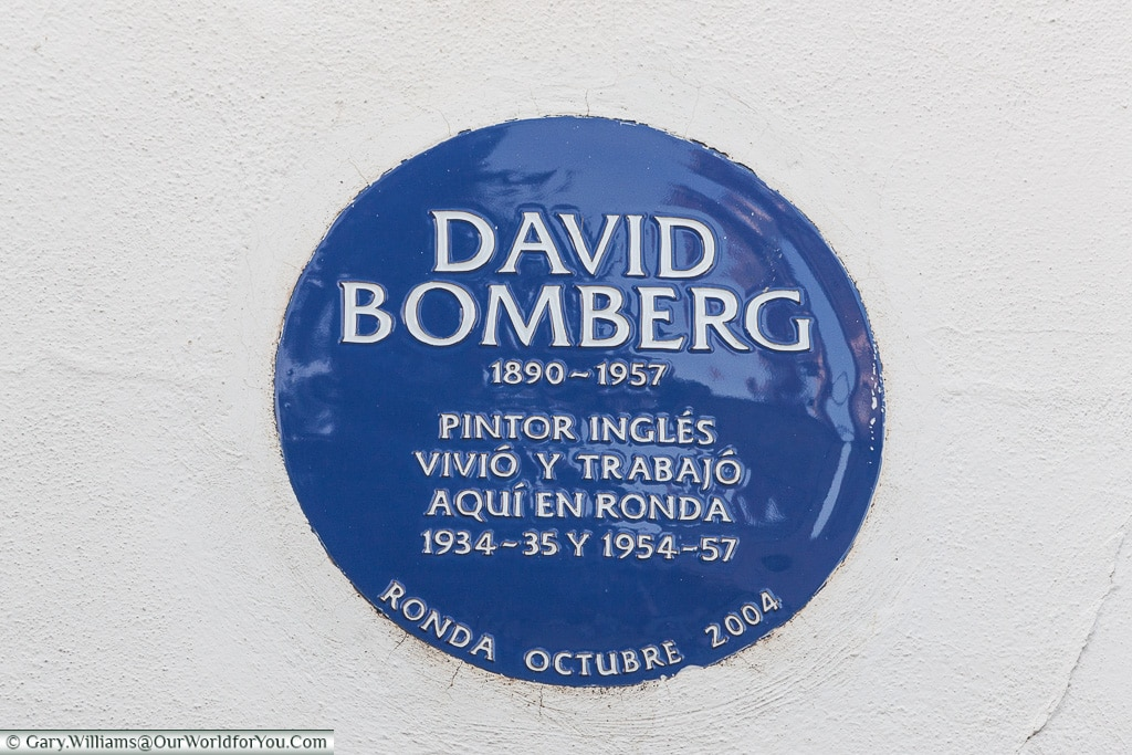 A Blue Plaque in Ronda, Spain,