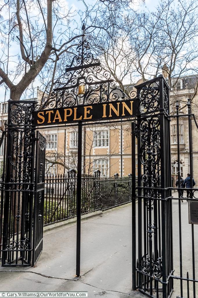 A gate to Staple Inn, London, England, UK